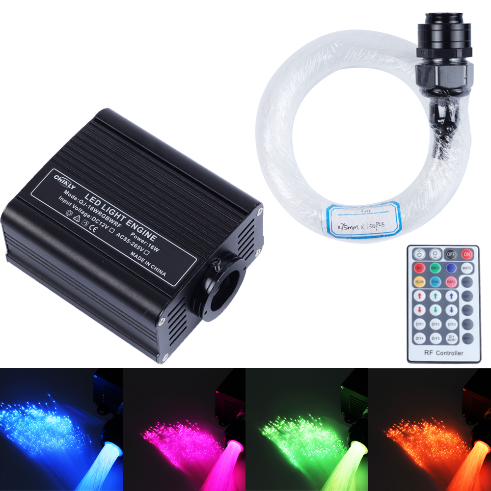 2017 Fiber Optic Lights RGBW LED Optical Fiber Light Kit with 150PCS * 2m * 0.75mm Optical Fiber for LED Ceiling Lighting