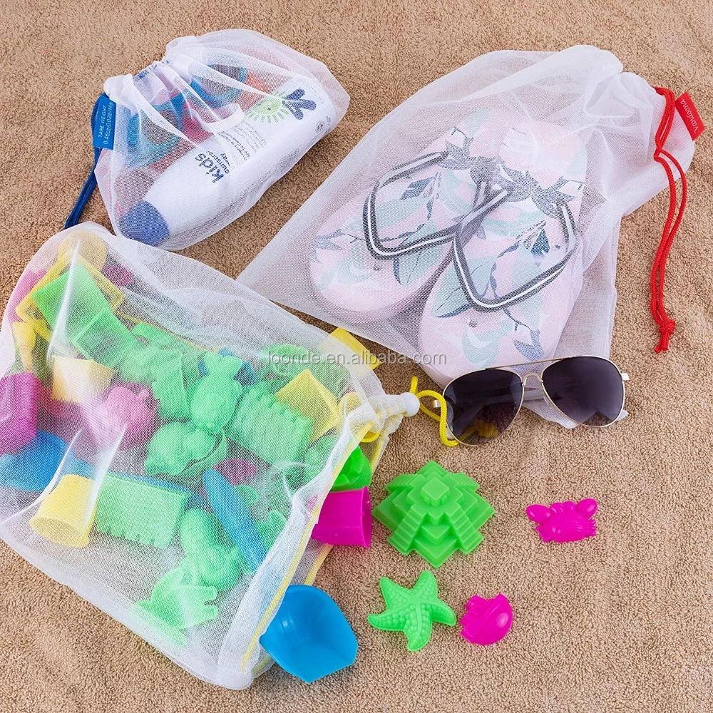 Vedere attraverso colorful striscia di poliestere nylon mesh produrre borsa con coulisse per il regalo