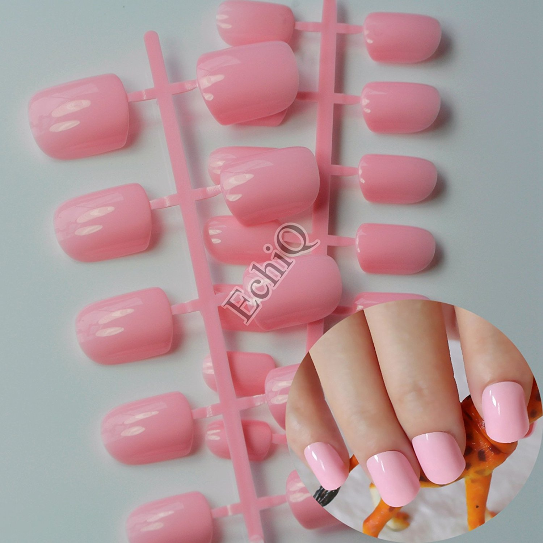 Buy Beautiful Shape Flat Nail art Decoration Tips Baby Pink False ...