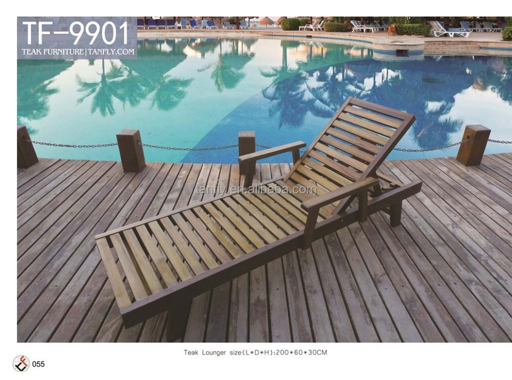 Muebles de jardín tumbona/solárium de madera maciza/madera de teca ...