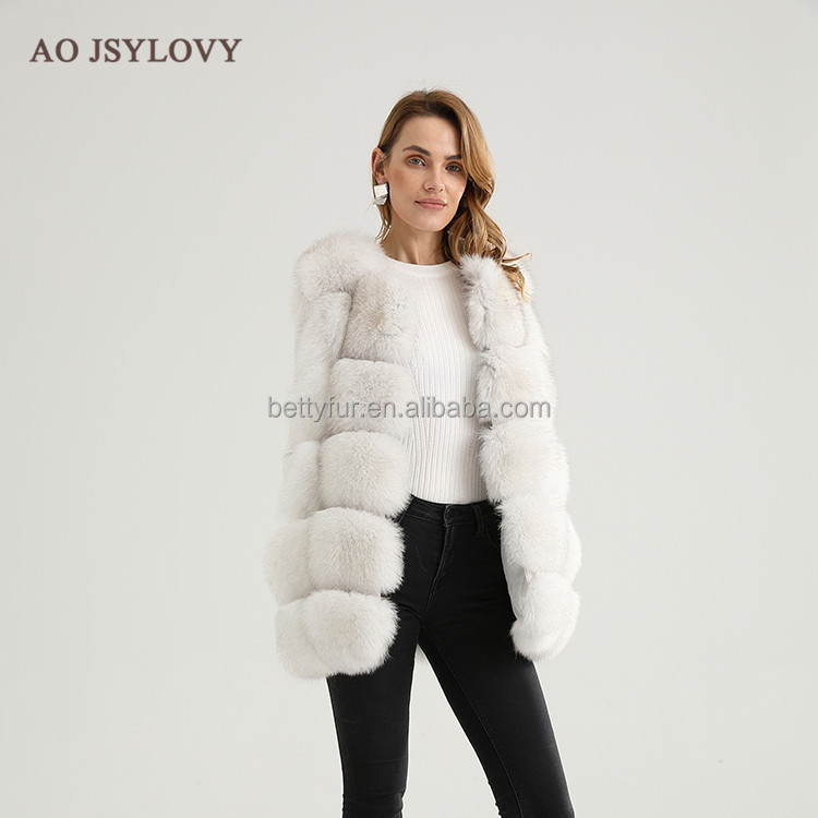 New real fur vest layered pattern designer natural fox fur gilet