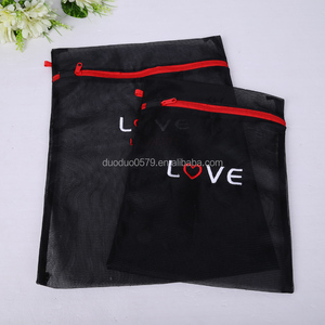 Newest clothing mesh bag square mesh wash bag black printed laundry bag
