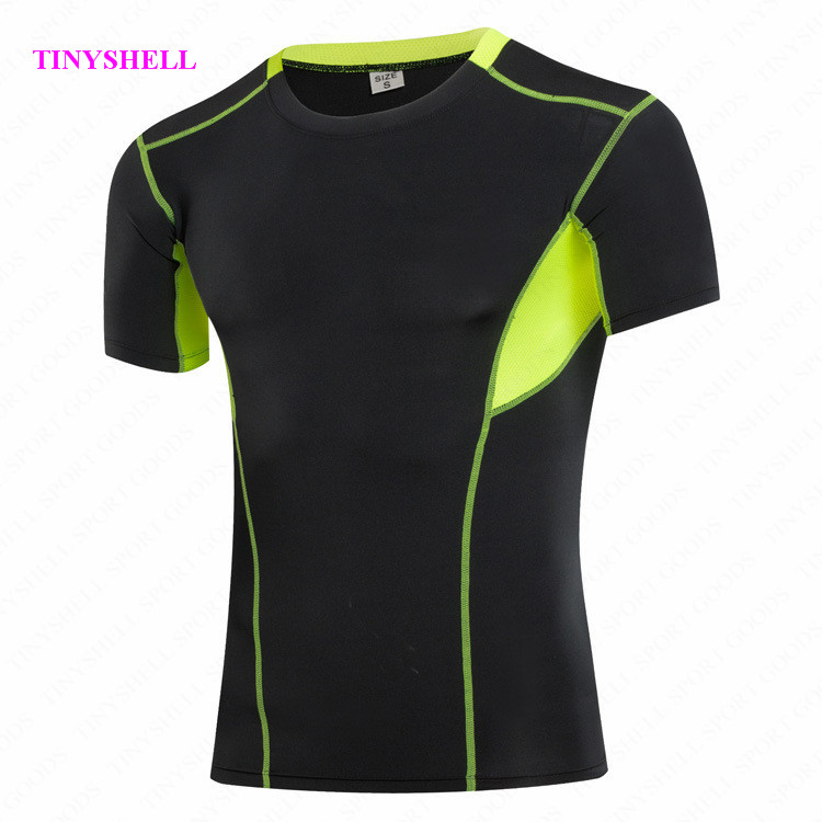 Hot Sale Compression Gym Workout Cycling Clothing Mens Short Sleeve Muscle Fitness Gym T Shirt