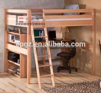 Ambiental Dormitorio Loft Madera Maciza Cama Litera Con Escritorio