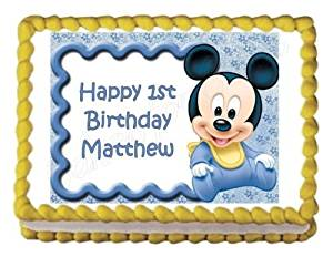 Pleasant Buy Mickey Mouse 1St Birthday Edible Image Photo Cake Topper Sheet Personalised Birthday Cards Petedlily Jamesorg