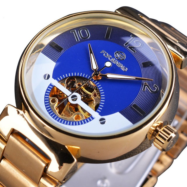 Forsining Blue Ocean Middle East Luxury Design Golden Stainless Steel Mens Watches Top Brand Luxury Automatic Wrist Watch Clock фото
