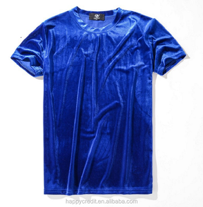 Cheap Wholesale Round Neck Short Sleeve Plain Blank Blue Silk Velvet Men T Shirts