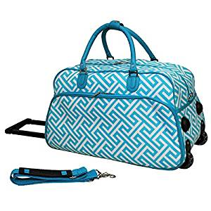 Single Piece Light Blue Geometric Pattern Lightweight Rolling Duffle Bag, 21-inch Carry On Duffle Bag, Polyester Material, Multi-Compartment, Rolling, Foldable, Softsided, Bright White