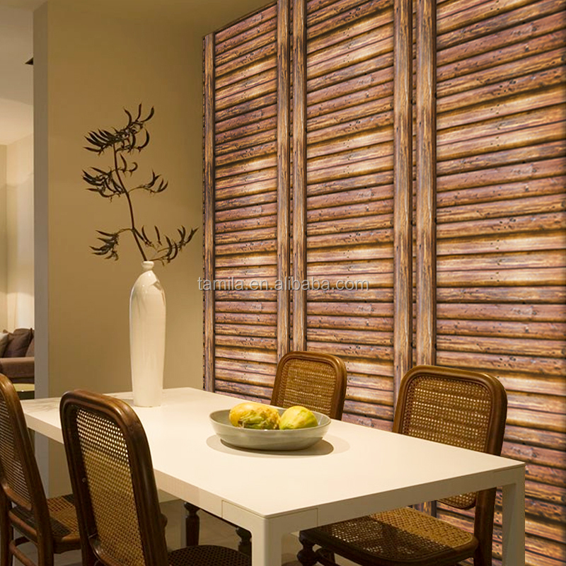 Home Decorative Fashion luxury wood effect 3d wallpaper for room Decoration