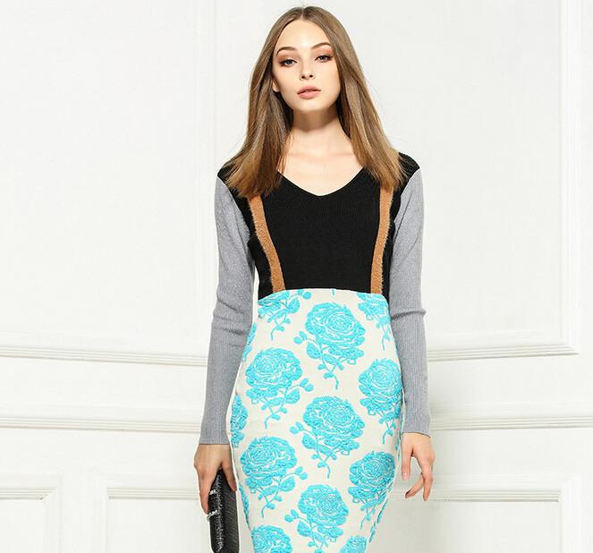 745df815118 Get Quotations · Luxury Brand Runway Women Sweater Dress 2015 Fall Winter  Color Block Long Sleeve Knit Sweaters Plus
