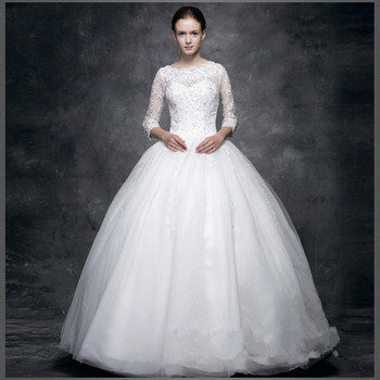 dead7a53d9aa ZH0564F Best Selling lace appliqued satin long sleeve wedding dress vintage  wedding dresses