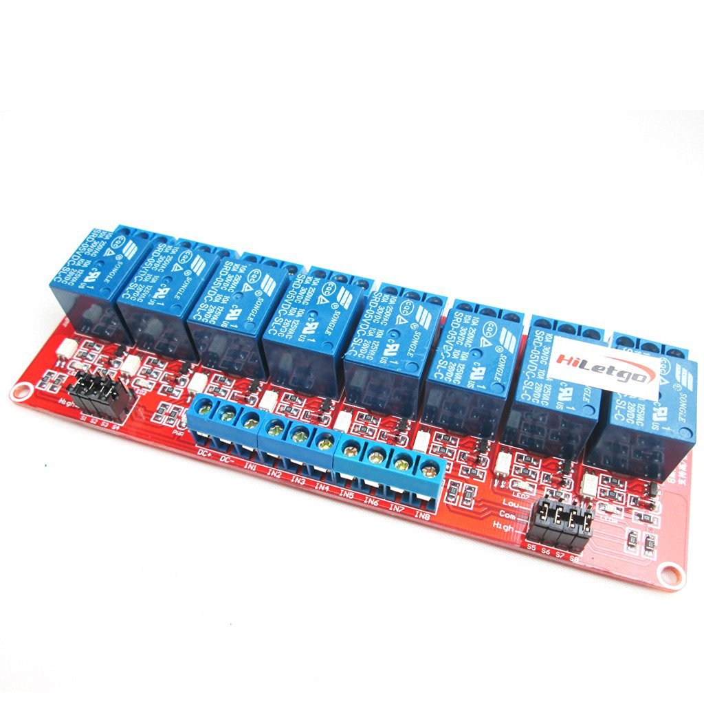 HiLetgo 5V 8 Channel Relay Module With OPTO-Isolated Support High and Low Level Trigger