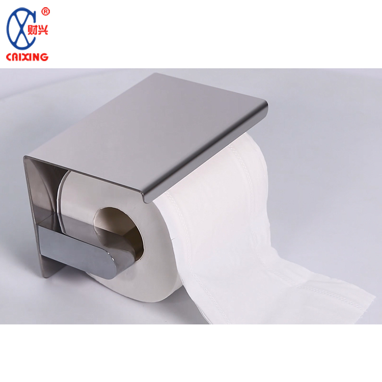 Funny stainless steel 304 wall mounted bathroom roll toilet paper holder with shelf