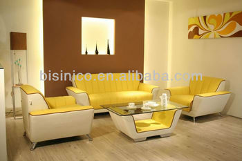 Modern White Yellow Living Room Sofa Set 3 Seater One Sectional