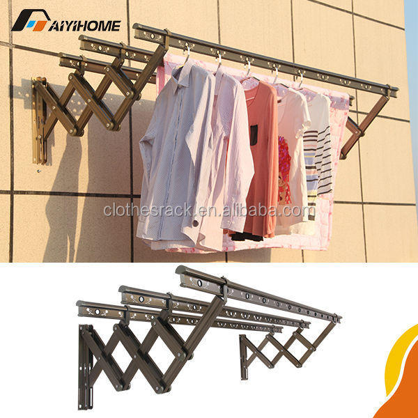 clothes hanger wall mounted rack lowes hanging aluminium alloy folding push pull