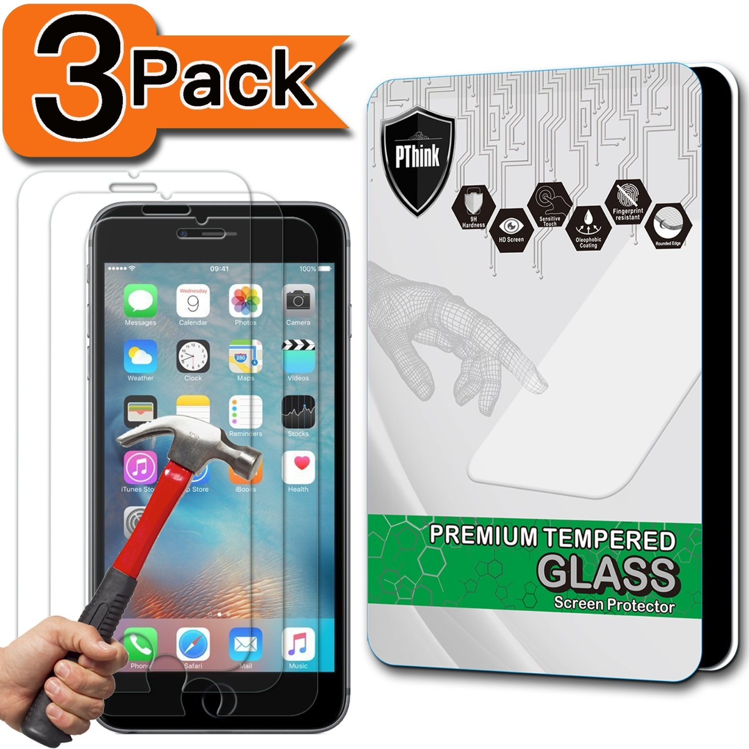 [3-Pack] iPhone 6s Plus Screen Protector, PThink [Tempered Glass] [9H Hardness] [Anti-Scratch] [Fingerprint Resistant] [Easy-Install] Glass Screen Protector for iPhone 6 Plus / 6s Plus (3-Pack)