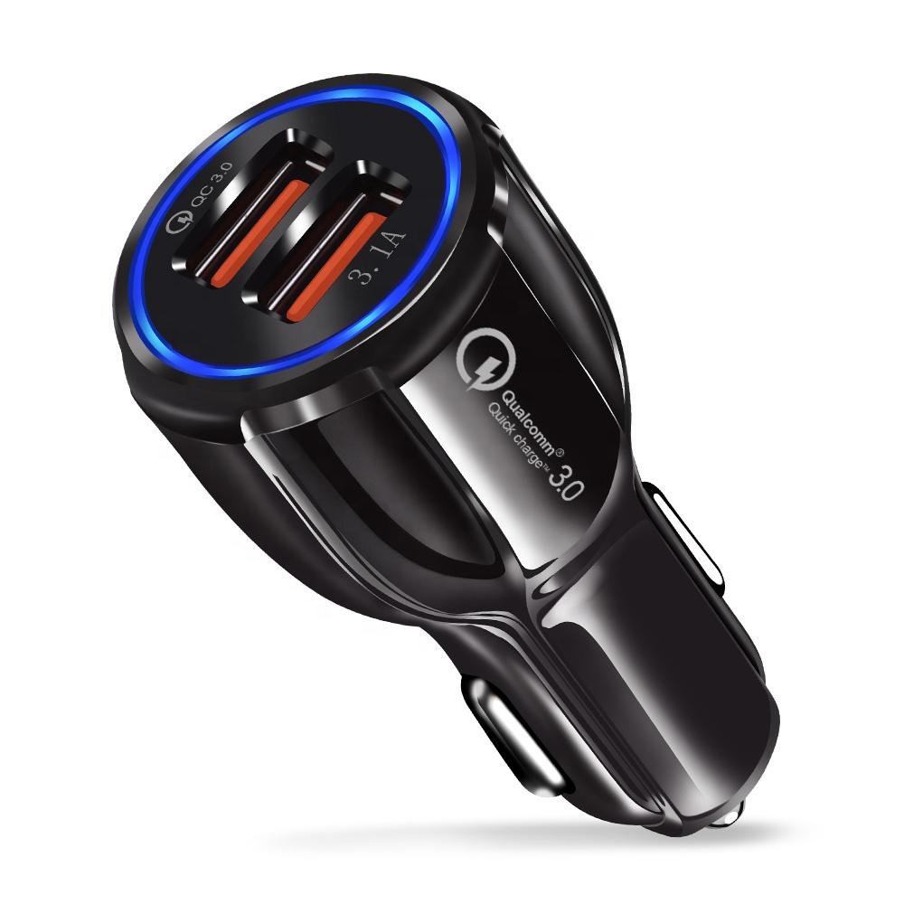 CE/Rosh/FCC Caricabatteria Da Auto USB Carica Rapida QC3.0 QC2.0 Caricatore Del Telefono Mobile 2 Porte USB Auto Veloce caricatore per il iPhone Samsung Tablet