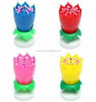 Factory Direct Sell Musical Lotus Rotating Happy Birthday Candle