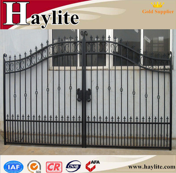 Sliding driveway decorative ornamental luxury garden automatic wrought iron  fence gate, View iron gates, Haylite Product Details from Qingdao Haylite