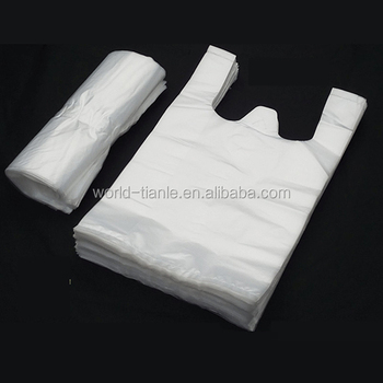 12 x 20 inch White Handle Thick Plastic Disposable T-shirt Bags