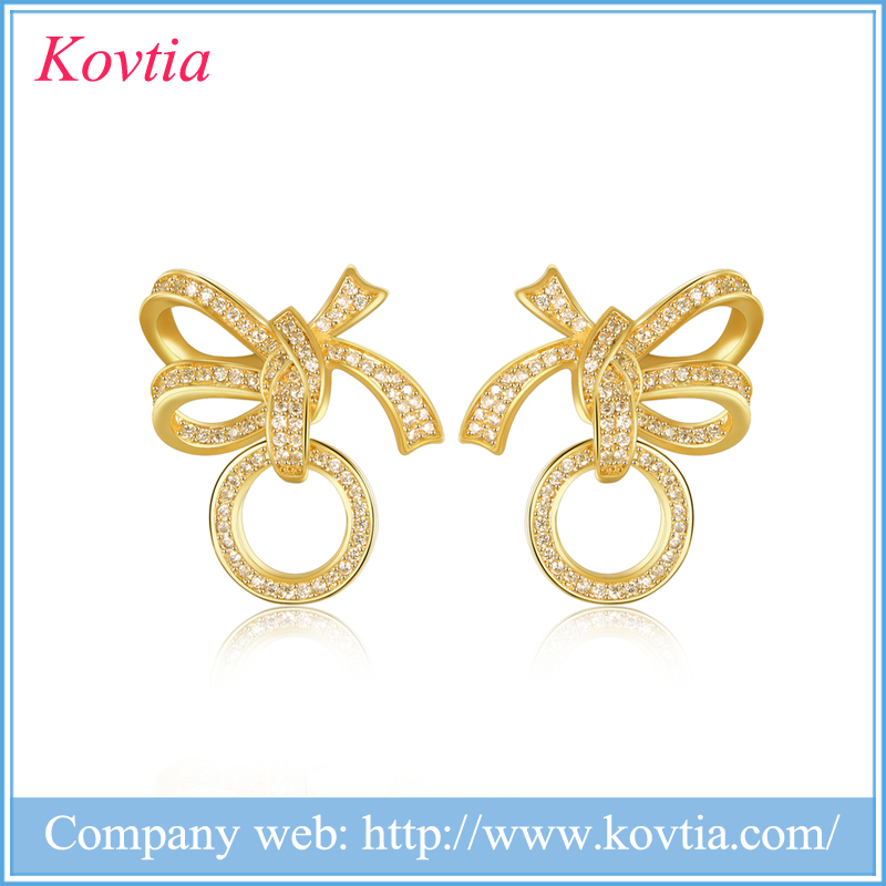 Kovtia Manufacturer Wholesale Crystal Zircon Fine Yellow Gold Bowknot Earrings for Prom