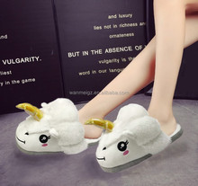 2017 Newest Unicorn Plush slippers Winter Soft Indoor slippers for Girls Animal House Plush Flip Flop Support Custom