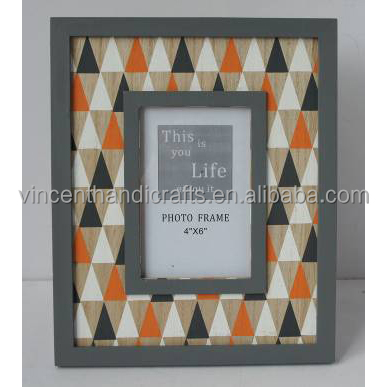 Yellow white and black triangular paint freind wooden photo frame