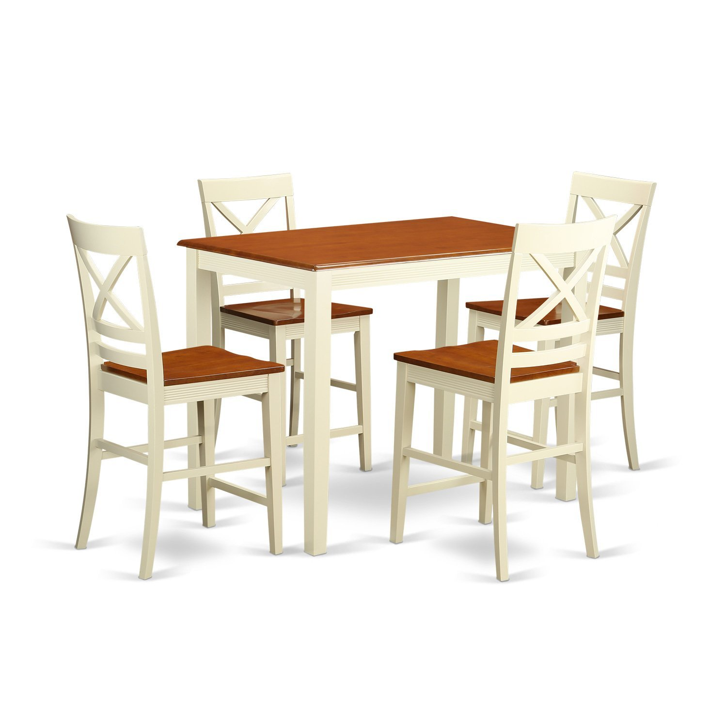 East West Furniture YAQU5-WHI-W 5 Piece Counter Height High Table and 4 Kitchen Chairs Set