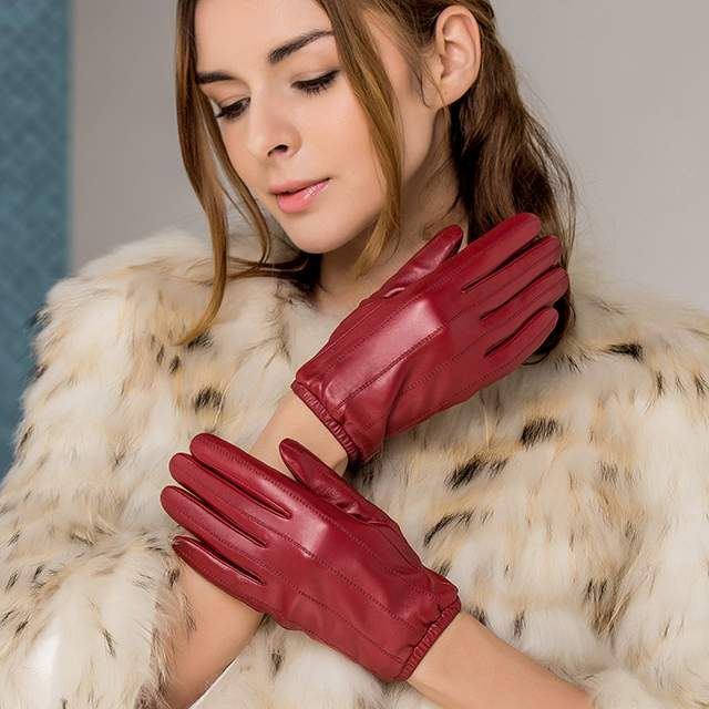 Elastic Cuff Soft Sheepskin Touchscreen Women Leather Gloves