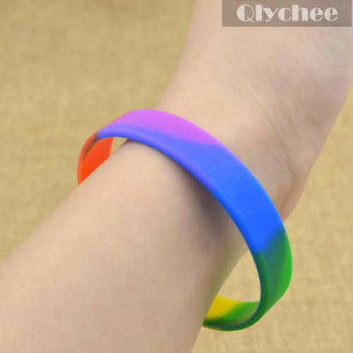 1 шт. мода лгбт браслет геев и лесбиянок знак цвета радуги обычная силиконовый браслет браслет