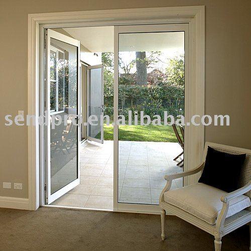 Puerta de aluminio franc s para el balc n patio puertas for Puertas de jardin de aluminio