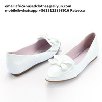 2018 used clothing lots/used shoes/original secondhand shoes,leather flat shoes, snow-white colour for summer