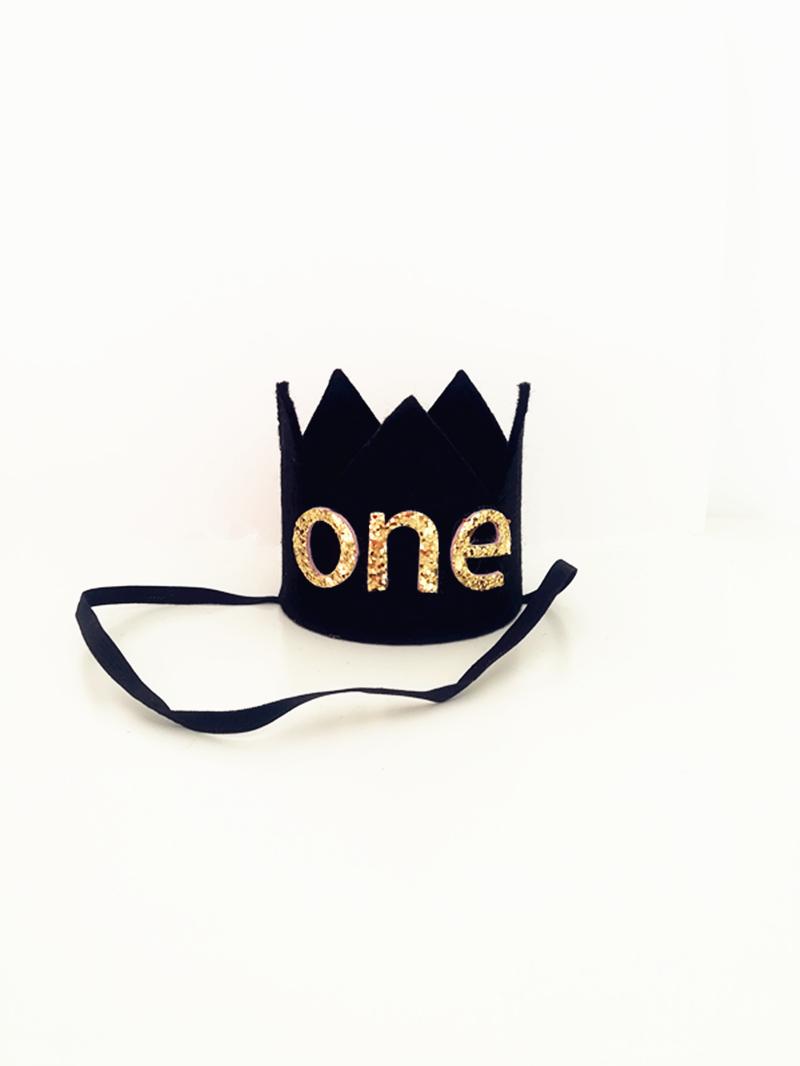 Compre Boy First Birthday Black Felt Crown Baby 1st 2nd 3rd Birthday ... 7ca6fbe45ba