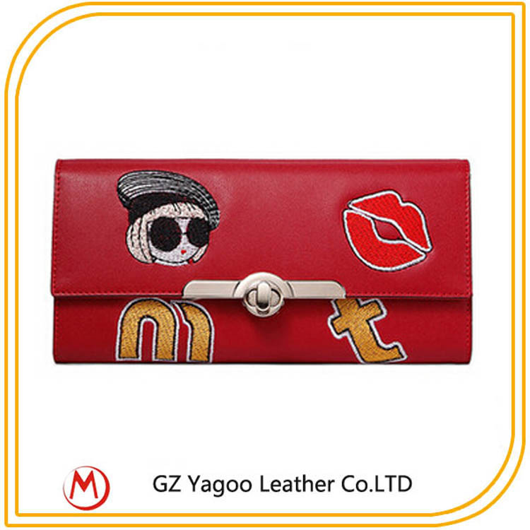 Wholesale woman leather wallet lady money bag embroider patter purse