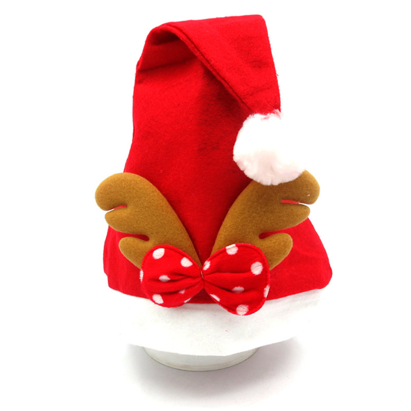 Red Hat Adult Child Cute Elk Antlers Santa Claus Hats Xmas Decorations Supplies Christmas Holiday Party