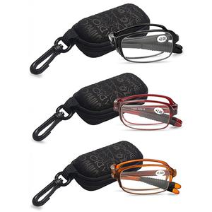 Optical Portable Tr90 Bulk Pocket Slim Eyeglasses Eye Wear Square Glasses Frame Mini Folding Foldable Reading Glasses With Case