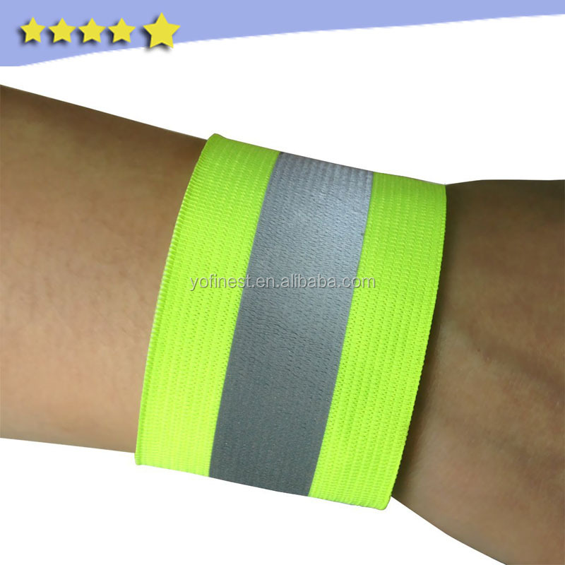 flourecence yellow wholesale elastic reflective arm band