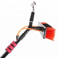 Window cleaning pole and brush with adjustable long handle wiper