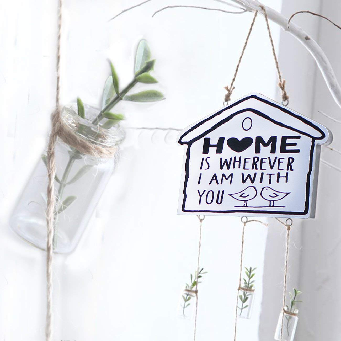 """Home Cabin Style Wall Rustic Sign Hanger """"Home is wherever I am with you"""" Sign Wood Decorative Macrame Plant Hanger Art Plague Front Door Welcome Sign Vintage Retro Handmade Home Cafe Bar"""