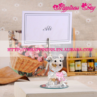 Pink Crystal Bear Place Card Holder Wedding Baby Shower Party Picture Name Holder Favors