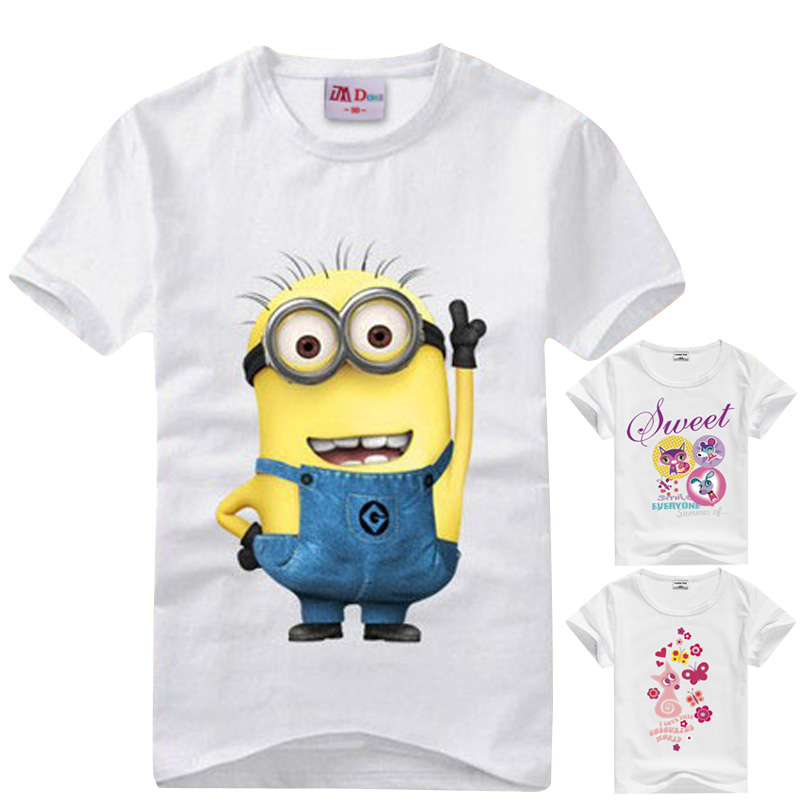 Cartoon figure children minions clothes costume children s clothing t shirts for Kids children clothes baby