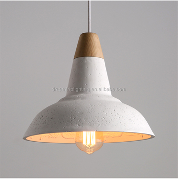 New Product Wood Concrete Lamp Shade Hanging Light Pendant For Home Decoration