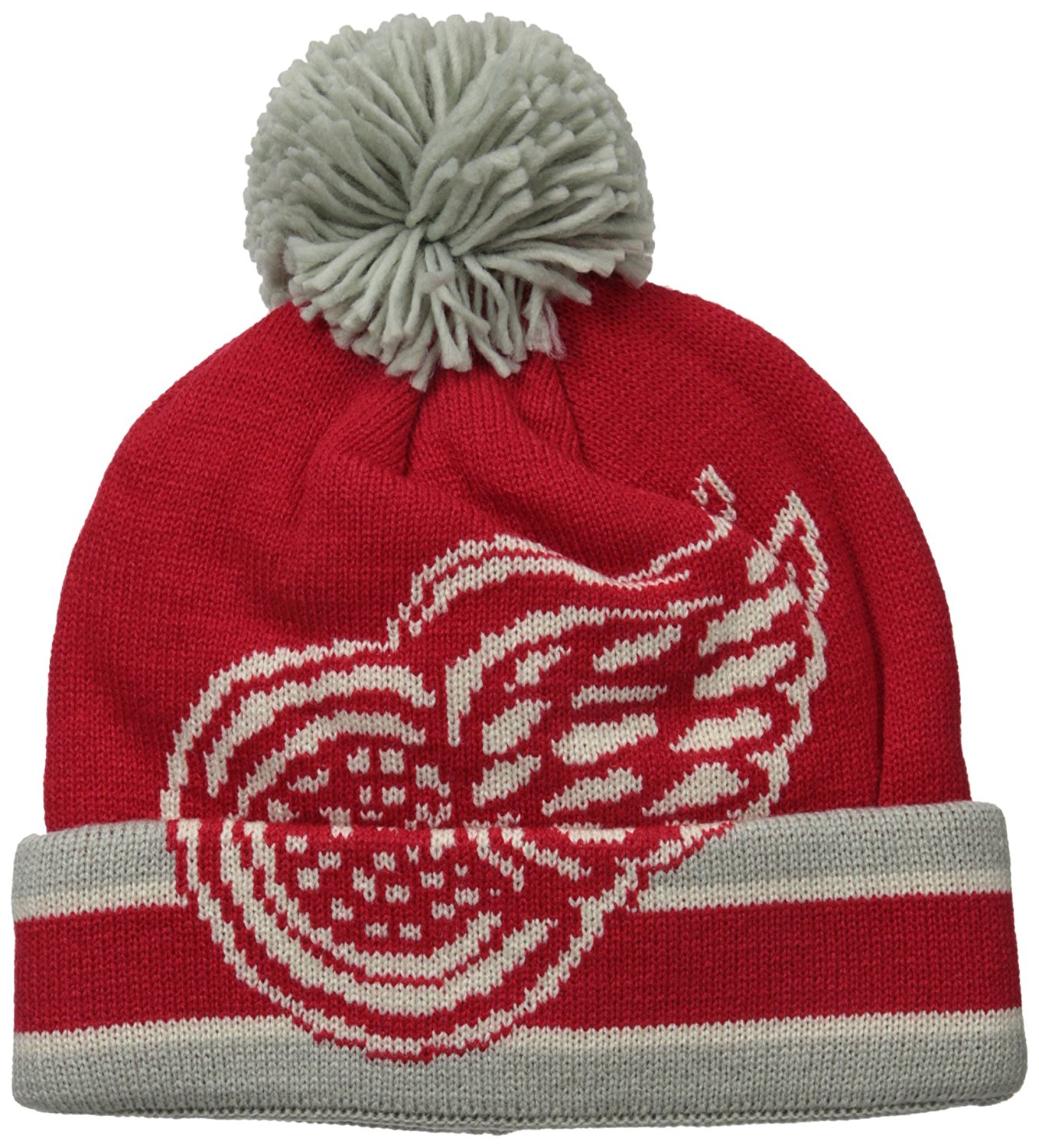 get quotations  detroit red wings adult ccm cuffed pom knit beanie red