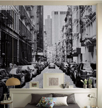 Vintage New York City Street Wallpaper Mural Living Room Dining Hall Cafe Large Wall Painting