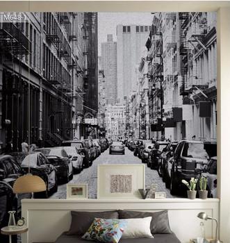 vintage new york city street wallpaper mural living room dining hall
