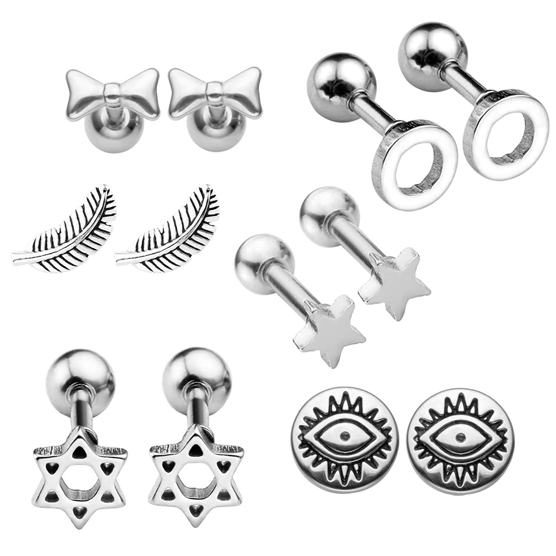 Get Quotations Bopreina Earrings Tragus Cartilage Helix Stud Set 6mm Barbell Kit 16g 1 2
