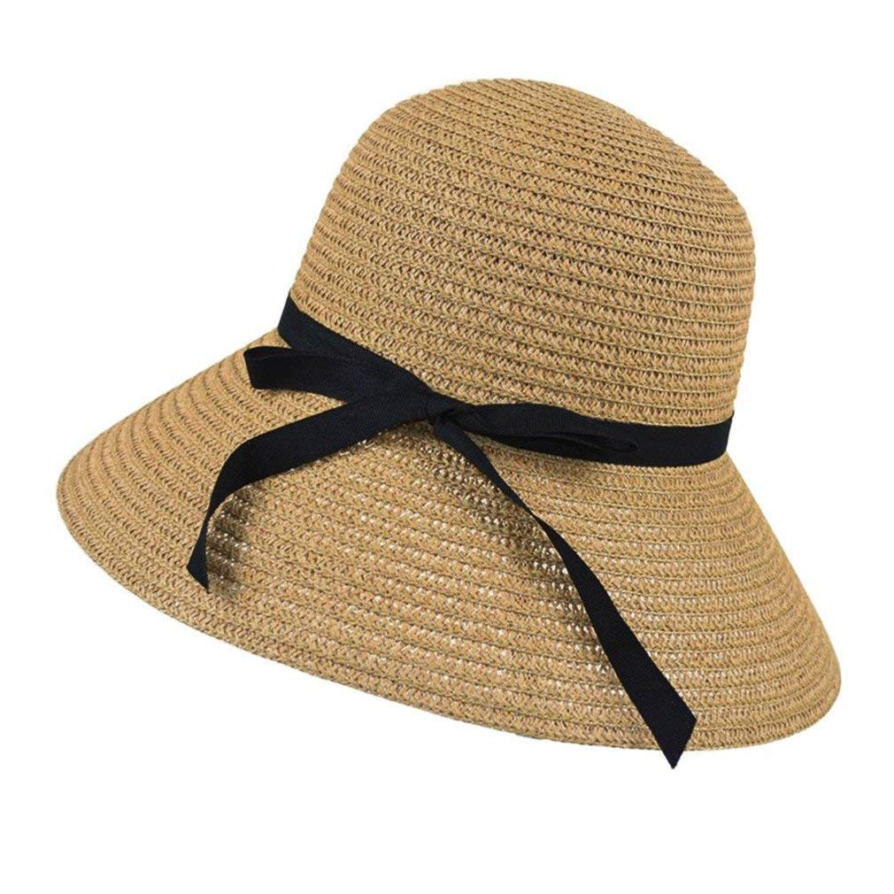 Get Quotations · COOLISH Women Wide Brim Summer Beach Sun Straw Hat Bohemia  Cap Straw Foldable Hats 6f5162c2326a