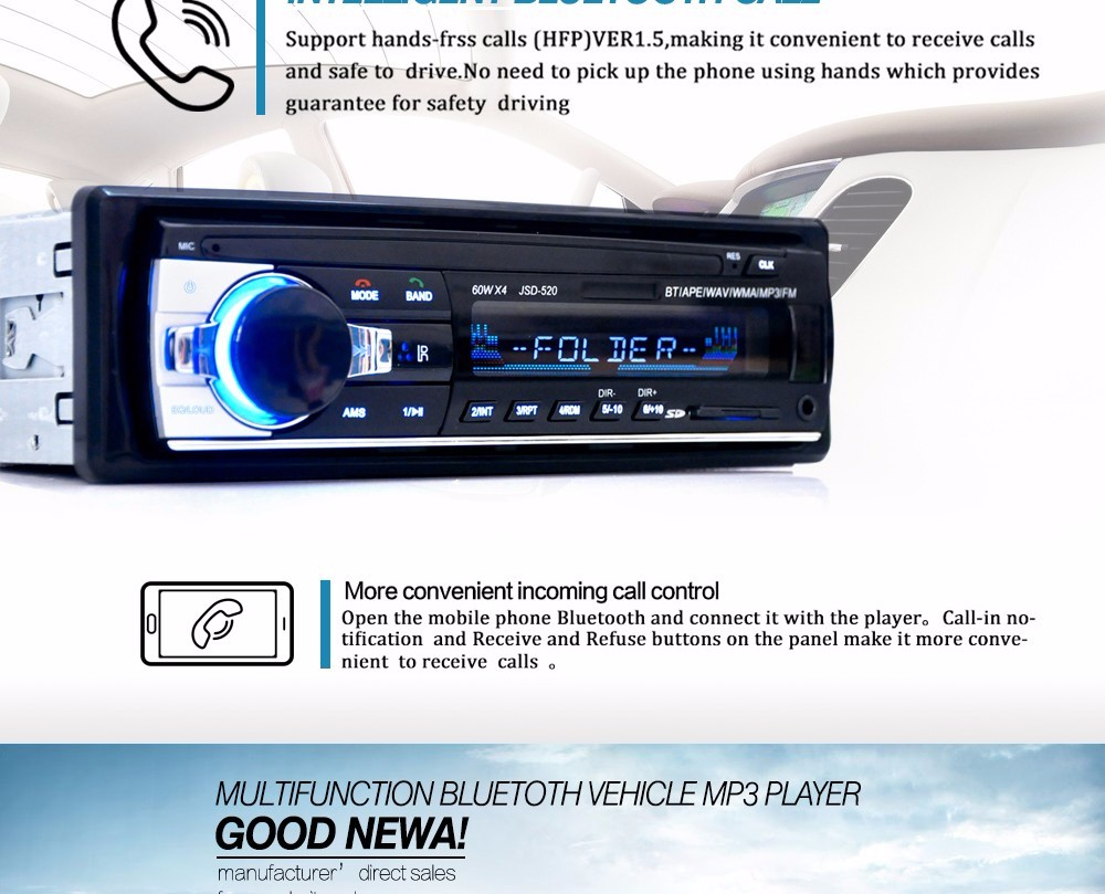 Autoradio Car Radio 12V Bluetooth V2.0 Car Stereo In-dash 1 Din FM Aux Input Receiver SD USB MP3 MMC WMA Car Radio Player