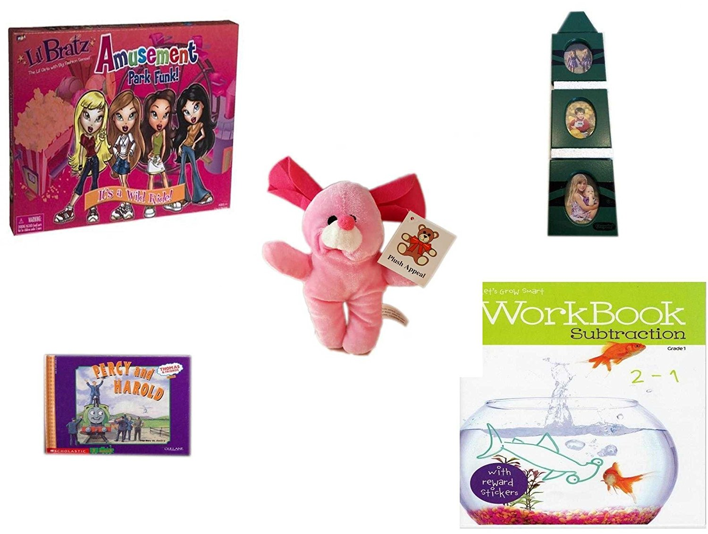 "Children's Gift Bundle - Ages 3-5 [5 Piece] - Lil Bratz Game Amusement Park Funk. - Crayola Green Crayon 3-Tier Picture Frame - Plush Appeal Pink Bunny Plush 7"" - Thomas & Friends: Percy Runs Away"