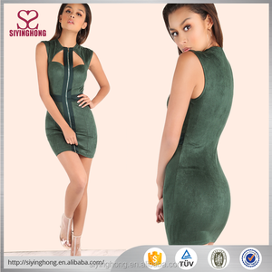 new design fashion zip front green suede elegant sleeveless bodycon party women dress for ladies